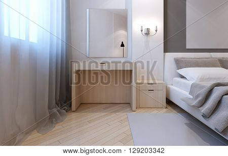 Idea of avant garde bedroom. 3D render