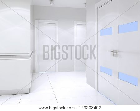 Snowy-white entrance high-tech style. White closet with glossy walls double door entrance. 3D render