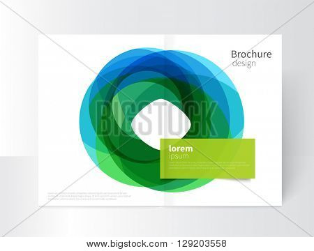 Vector Abstract Business Brochure, Annual Report, Flyer, Leaflet Cover Template. a3 size Geometric abstract background element blue and green circles intersecting. concept catalouge design. EPS 10