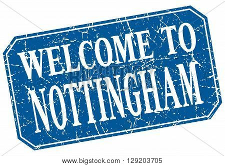 welcome to Nottingham blue square grunge stamp