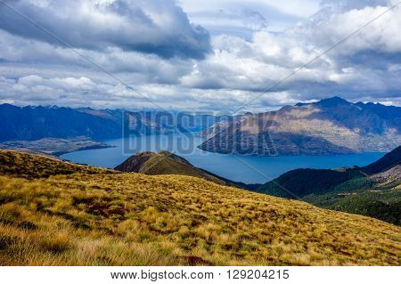 Wakatipu Lake from Ben Lomond track Queenstown New Zealand