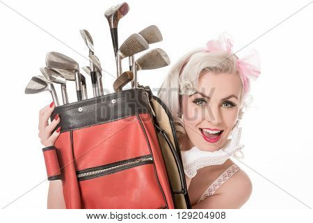 Happy Retro Girl Peeking Out From Behind Red Golf Bag, Isolated On White With Space For Text, Horizo