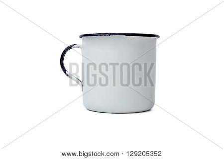 Realistic Classic Enamel Mug Isolated on White