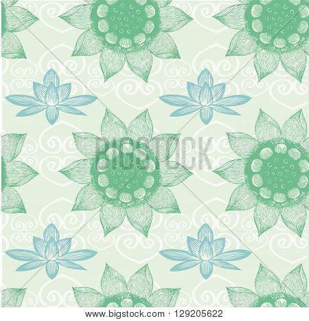Om Designlotus flower seamless pattern vector illustration