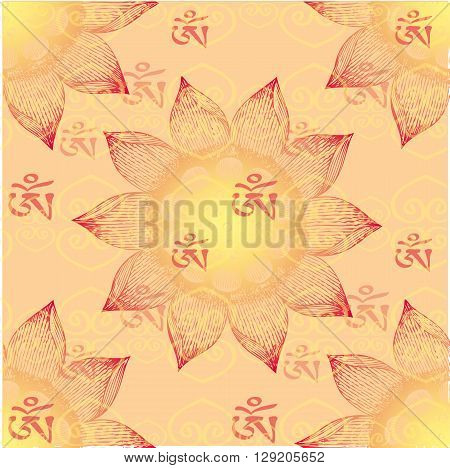 Om Design lotus flower seamless pattern vector illustration