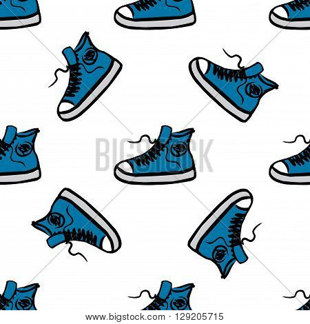 Sneakers seamless pattern hand drawing vector illustration