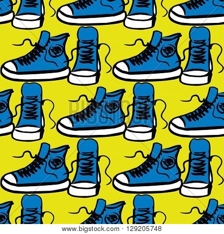 Sneakers on yellow background seamless pattern hand drawing vector illustration