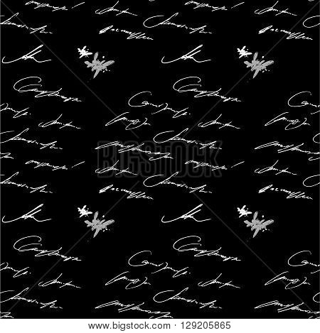 Seamless abstract text pattern. Hand drawing vector