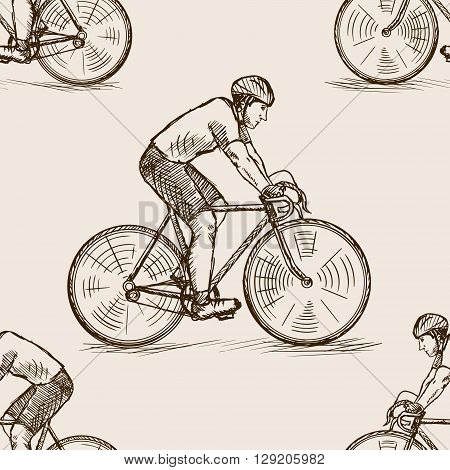 Bicycle racer man sketch style seamless pattern vector illustration. Old hand drawn engraving imitation.