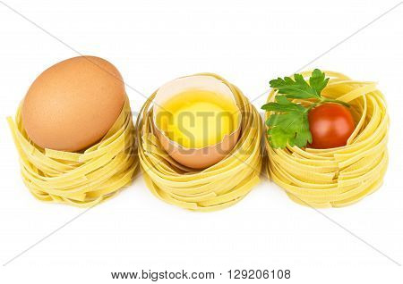 Row Of Pasta In Form Nest, Egg And Yolk