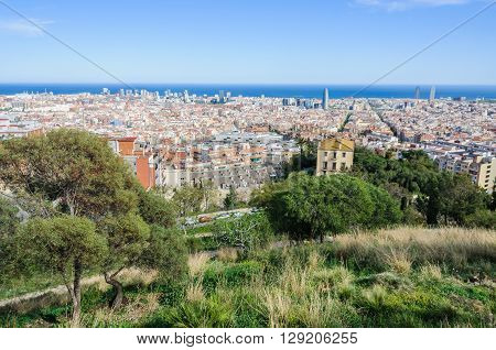 Skyline Of The City In Barcelona, Spain
