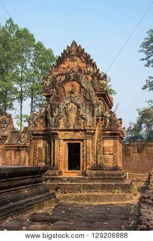 Banteay Srei or Banteay Srey is a 10th-century Cambodian temple dedicated to the Hindu god Shiva. Located in the area of Angkor in Cambodia
