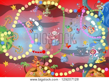 Game for children - journey through the space with fantastic planets and creatures. Vector illustration.