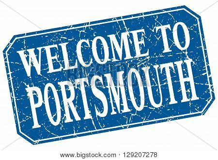 welcome to Portsmouth blue square grunge stamp