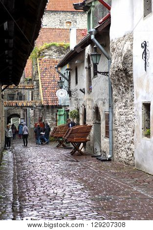 TALLINN ESTONIA- JUNE 17: St. Catherine Passage - a little walkway in the old city on June 17 2012 in Tallinn Estonia