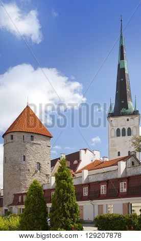 Medieval towers - part of the city wall and St Olaf (Oleviste) Church. Tallinn Estonia