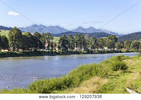 Panorama of Tatra Mountains seen from the river Dunajec, Poland