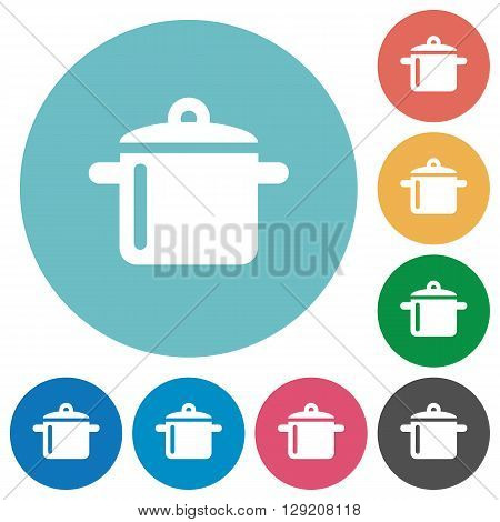 Flat cooking icon set on round color background.