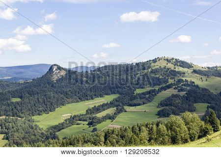 Wysoka Mountain in Pieniny Mountains seen from Slovakia ** Note: Visible grain at 100%, best at smaller sizes