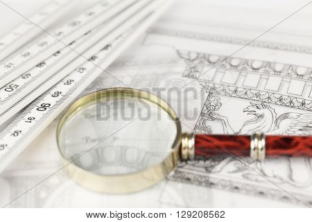 architectural drawing - detail column, magnifying glass & folding ruler