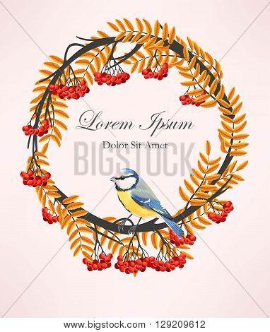 Vector illustration of rowan wreath and bird