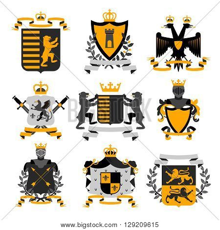 Heraldic coat of arms family crest and shields emblems golden black icons collection abstract isolated vector illustration