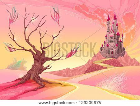 Fantasy landscape with castle. Cartoon vector illustration