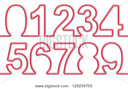 collection of numbers from single-line font. 3D rendering isolated on white background