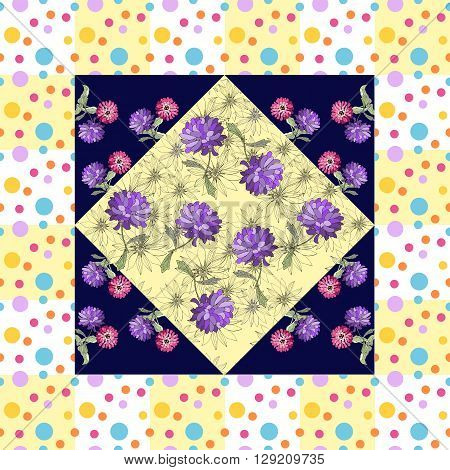 Beautiful silk neck scarf with hand drawn flowers in dot frame. Bandana print or kerchief square pattern design style for print on fabric. Vector illustration.
