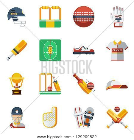 Cricket Icons Set. Cricket Vector Illustration. Cricket Flat Symbols. Cricket Design Set. Cricket Elements Collection.