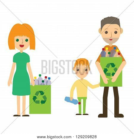 Family recycling plastic bottles. Flat styled characters isolated. Vector illustration of man, women and kid.
