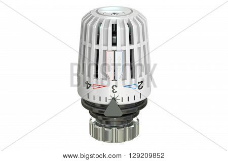Thermostatic radiator valve 3D rendering isolated on white background