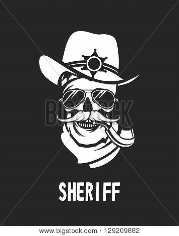 vector emblem steep dead sheriff skull retro black and white