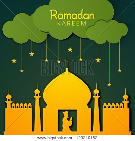 Glossy Mosque with religious man reading Namaz (Islamic Prayer) on stars decorated green background for Islamic Holy Month of Prayers, Ramadan Kareem celebration.