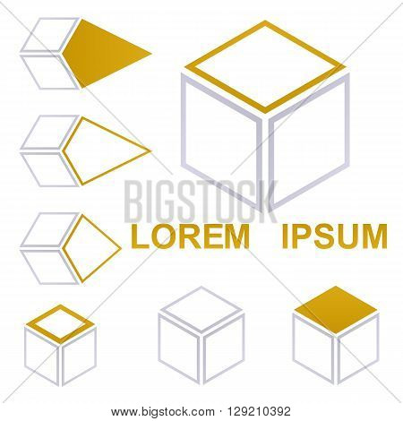 Cube logo vector. Cube icon symbol design template set for shipping , packaging, delivery, concepts.
