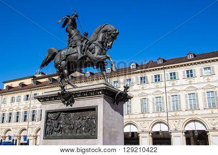 Equestrian statue of Emanuele Filiberto in Piazza San Carlo Turin Italy