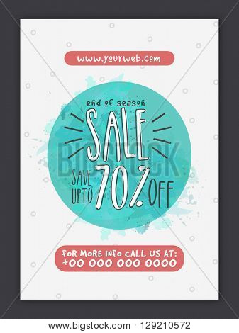End of Season, Sale Poster, Sale Banner, Sale Flyer, 70% Discount Offer, Vector illustration.