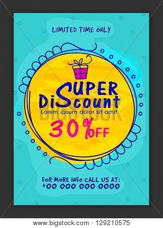 Super Discount, Sale Poster, Sale Banner, Sale Flyer, 30% Off for Limited Time, Vector illustration.