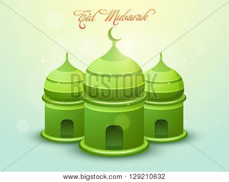 Glossy creative green Mosque on shiny background for Muslim Community Festival, Eid Mubarak celebration.