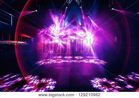 night party rave concert stage with lasers