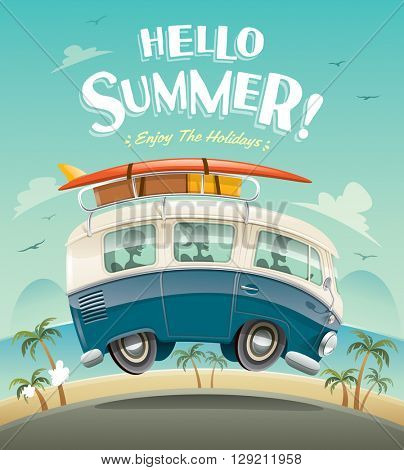 Hello summer! Camper van. Summer vacation.