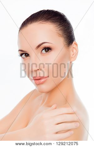 Attractive Sensual Girl Touching Her Shoulder After Shower