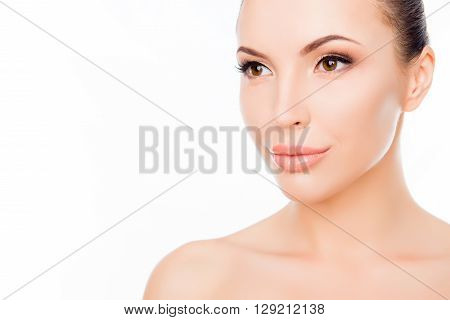 Portrait Of Beautiful Sensual Woman Wth Smooth Skin On Face