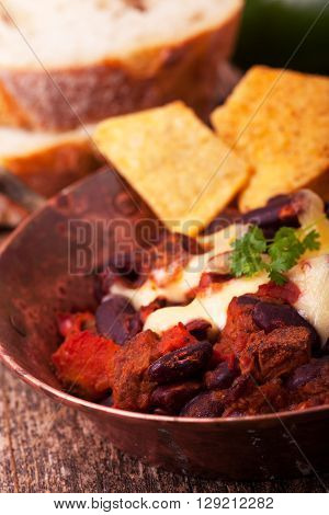 closeup of chili con carne in a bowl
