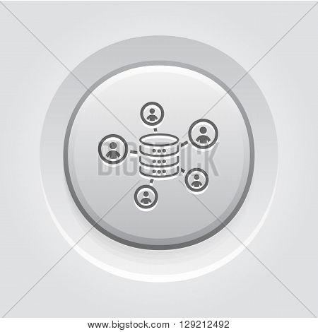Collecting Data Icon. Business Concept. Grey Button Design