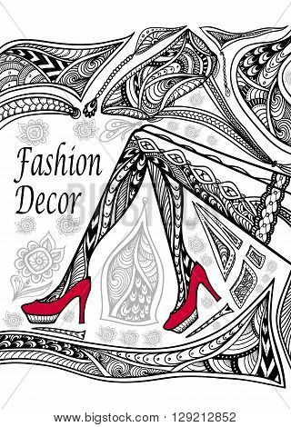 Concept Fashion Decoration With Zen Doodle Tangle Pattern Black On White For Coloring