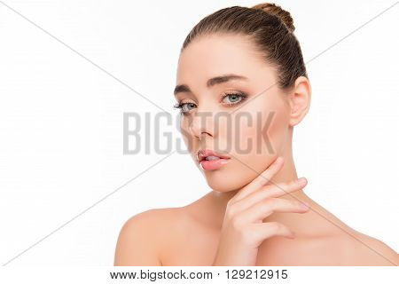 Portrait Of Attrective Beautiful Woman Touching Her Chin