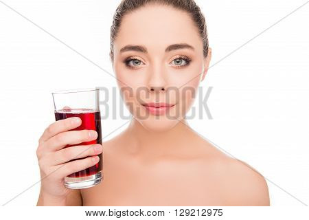 Sensitive Pretty Happy Woman Holding Glass Of Cherry Juice