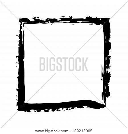 Square frame brush vector grunge paint watercolour ink. Vector old frame. Art frame background. Rectangular outline line black frame