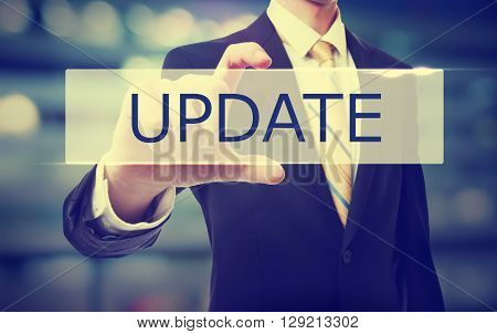 Business Man Holding Update